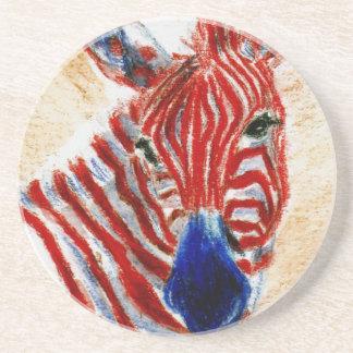 Prácticos de costa patrióticos de la cebra posavasos diseño