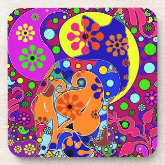 Prácticos de costa retros del arte pop del flower posavasos