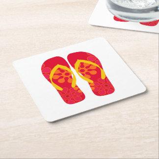 Prácticos de costa rojos de los flips-flopes del posavasos personalizable cuadrado