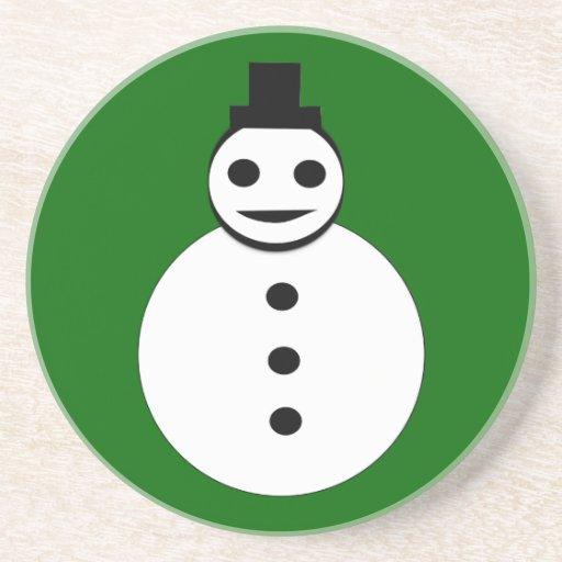 Prácticos de costa sonrientes del muñeco de nieve  posavasos manualidades