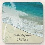 Prácticos de costa tropicales del corcho del boda  posavasos de bebida