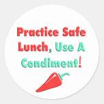 ¡Practique el almuerzo seguro, utilice las Pegatina Redonda