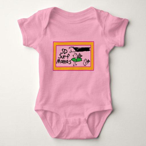 Practique surf la frontera rosada/amarilla del body para bebé