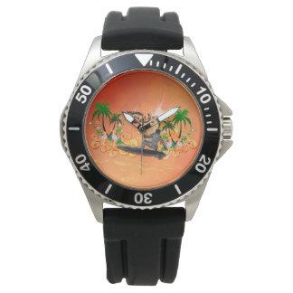 Practique surf la palabra con el surfboarder hecho relojes de mano