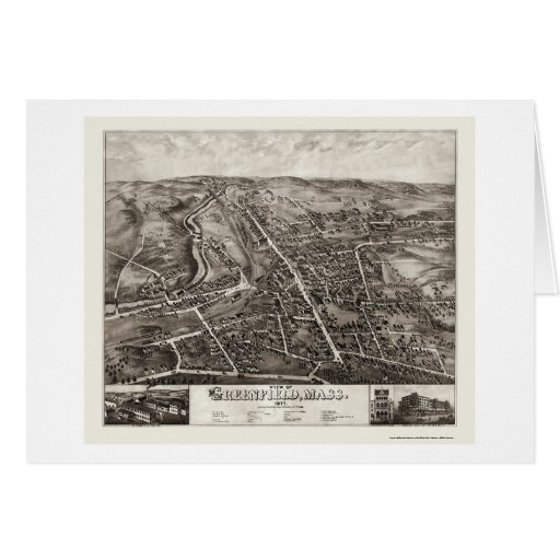 Pradera, mapa panorámico del mA - 1877 Felicitaciones