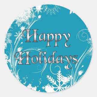 Prado azul del invierno - buenas fiestas pegatinas redondas