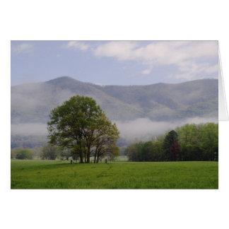 Prado brumoso y montaña rica ensenada de Cades Tarjetón