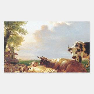 Prado con ganado de Jacob van Strij Pegatina Rectangular