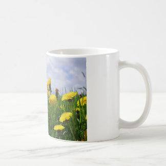 Prado de diente de león con cielo taza de café