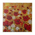Prado de la amapola, flores rojas