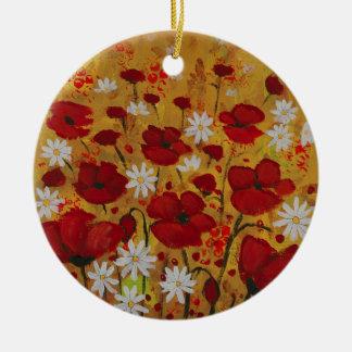 Prado de la amapola, flores rojas adorno redondo de cerámica