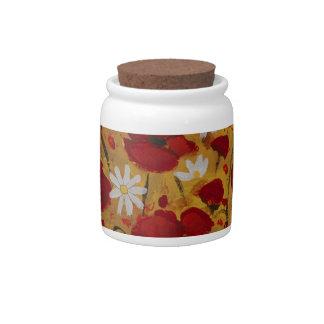 Prado de la amapola, flores rojas platos para caramelos