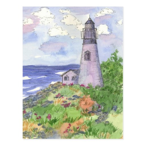 Prado de la flor del océano del faro tarjeta postal