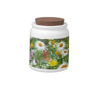 Prado de la flor salvaje platos para caramelos