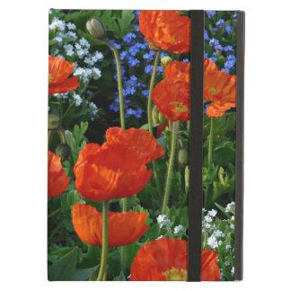 Prado de las flores del verano con las amapolas