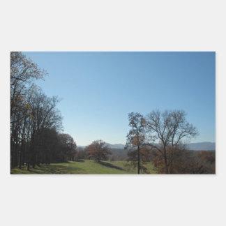 Prado del balanceo y pegatinas de los árboles pegatina rectangular