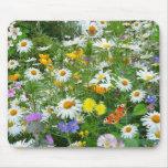 Prado hermoso del Wildflower y de la mariposa Tapetes De Raton