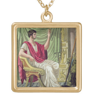 Praetor, No. 38 from 'Antique Rome', engraved by L Square Pendant Necklace