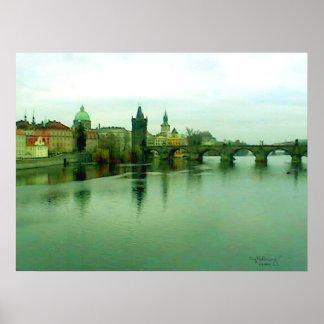 Praga 1 poster 2000 del puente de la ciudad el MUS