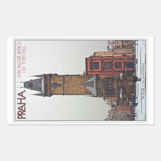 Praga - ayuntamiento viejo rectangular pegatina