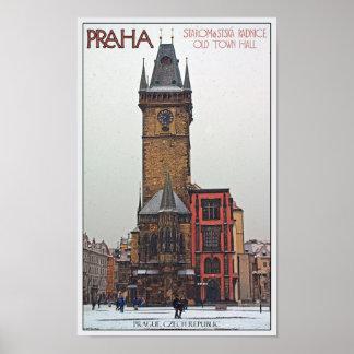 Praga - ayuntamiento viejo póster