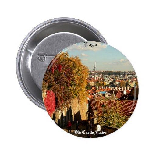 Praga - botón viejo de las escaleras del castillo pin
