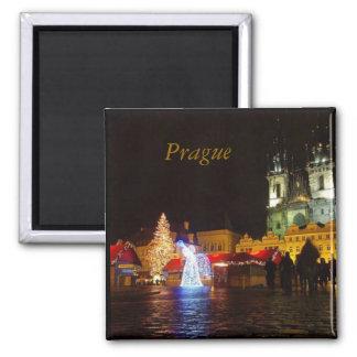 Praga en cuadrado de la noche de navidad imán de frigorífico