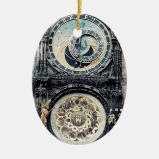 Praga Orloj Adorno Navideño Ovalado De Cerámica