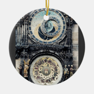 Praga Orloj Adorno Navideño Redondo De Cerámica