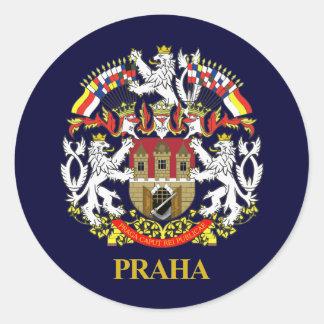 Praga (Praga) Pegatina Redonda