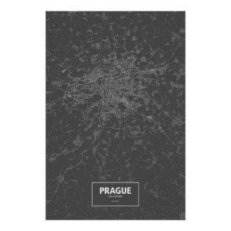 Praga, República Checa (blanca en negro) Póster