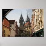 PRAGA, República Checa - calles de la bobina Póster