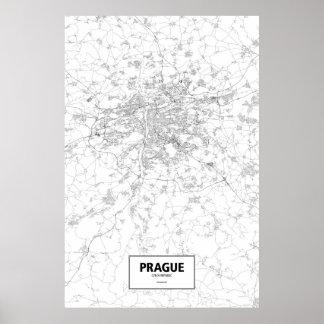 Praga, República Checa (negro en blanco) Póster