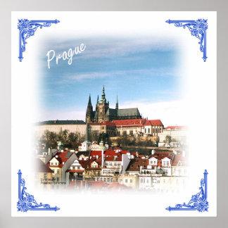 Praga y poster castillo-Checo de la república