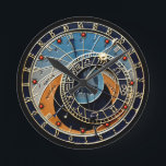 """Prague Astronomical clock<br><div class=""""desc"""">Based on a famous astronomical clock from Prague in the Czech Republic. This clock has had standard 12hr time markers overlaid in order to function as a normal clock only. Other astronomical divisions and dials are non-functional.</div>"""