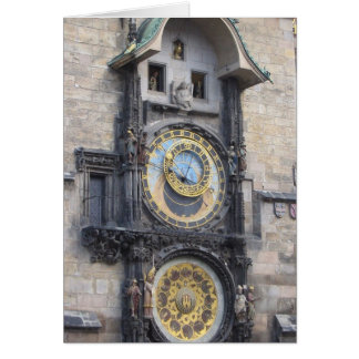 Prague Astronomical Clock In The Old Town Square Greeting Card