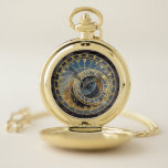 """Prague astronomical clock pocket watch<br><div class=""""desc"""">Steampunk style astronomical vintage historical clock. PLEASE NOTE this is a printed graphic of the famous astronomical clock in Prague it s not 3D and the dials do not turn.</div>"""