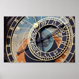 prague astronomical clock Poster