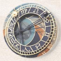 prague astronomical clock sandstone coaster