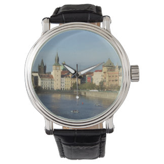 Prague Black Leather Strapped Watch