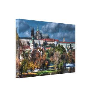 Prague castle in fall canvas print