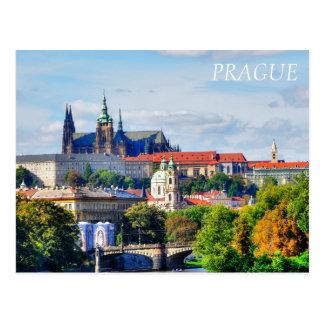 Prague castle panorama postcard