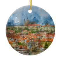Prague Castle with famous Charles Bridge in Czech Ceramic Ornament