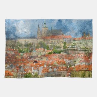 Prague Castle with famous Charles Bridge in Czech Hand Towel