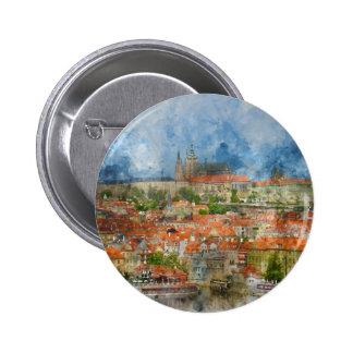Prague Castle with famous Charles Bridge in Czech Pinback Button
