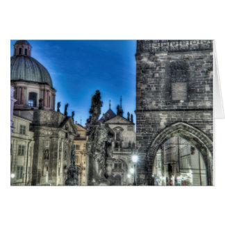 Prague - Charles Bridge Gate at Night Card