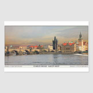 Prague - Charles Bridge Pano Rectangular Sticker