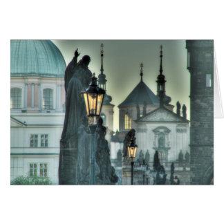 Prague - Charles Bridge Statue in the Morning Card