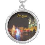 Prague Christmas Night Round Silver Necklace