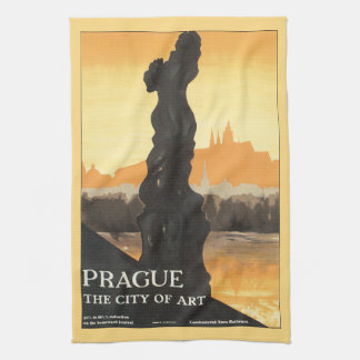 Prague City of Art Vintage Travel Poster Hand Towel